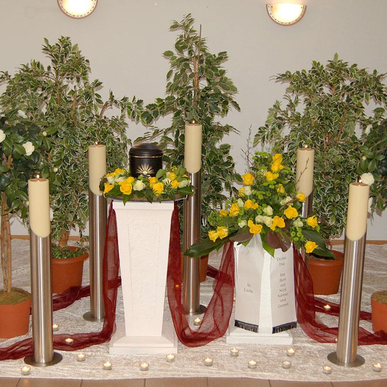 Kerzen für eine Trauerfeier